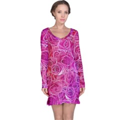 Floral Pattern Pink Flowers Long Sleeve Nightdress