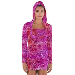 Floral Pattern Pink Flowers Long Sleeve Hooded T Shirt