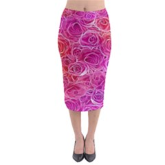 Floral Pattern Pink Flowers Midi Pencil Skirt