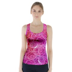 Floral Pattern Pink Flowers Racer Back Sports Top