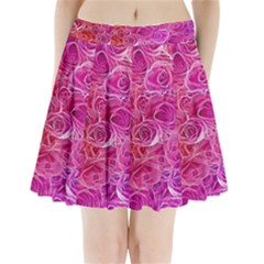 Floral Pattern Pink Flowers Pleated Mini Skirt