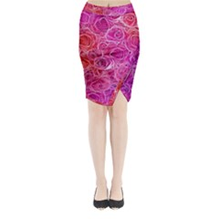 Floral Pattern Pink Flowers Midi Wrap Pencil Skirt