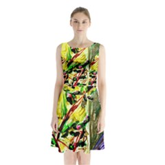 House Will Be Buit 4 Sleeveless Waist Tie Chiffon Dress