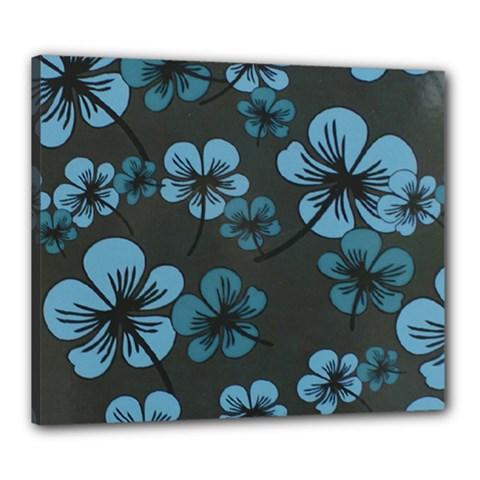 Blue Flower Pattern Young Blue Black Canvas 24  X 20