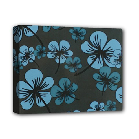 Blue Flower Pattern Young Blue Black Deluxe Canvas 14  X 11