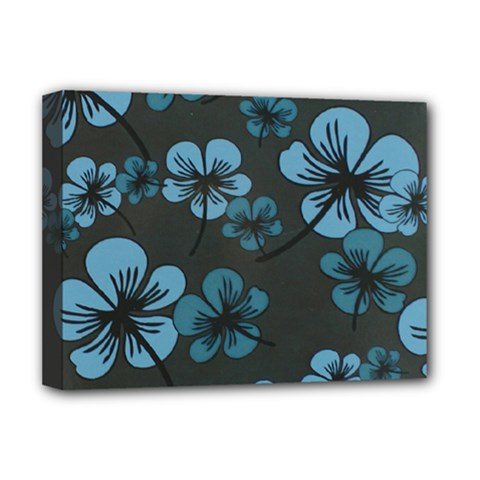 Blue Flower Pattern Young Blue Black Deluxe Canvas 16  X 12