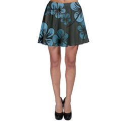 Blue Flower Pattern Young Blue Black Skater Skirt