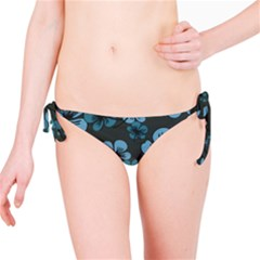 Blue Flower Pattern Young Blue Black Bikini Bottom
