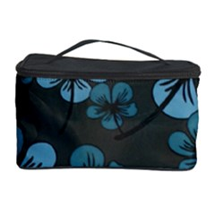 Blue Flower Pattern Young Blue Black Cosmetic Storage Case