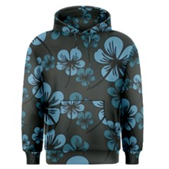 Blue Flower Pattern Young Blue Black Men s Pullover Hoodie