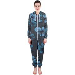 Blue Flower Pattern Young Blue Black Hooded Jumpsuit (ladies)