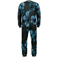 Blue Flower Pattern Young Blue Black Onepiece Jumpsuit (men)
