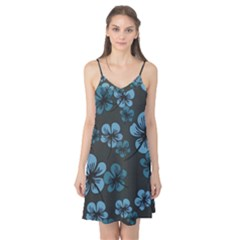 Blue Flower Pattern Young Blue Black Camis Nightgown