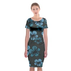 Blue Flower Pattern Young Blue Black Classic Short Sleeve Midi Dress