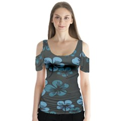 Blue Flower Pattern Young Blue Black Butterfly Sleeve Cutout Tee
