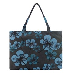 Blue Flower Pattern Young Blue Black Medium Tote Bag