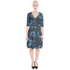 Blue Flower Pattern Young Blue Black Wrap Up Cocktail Dress