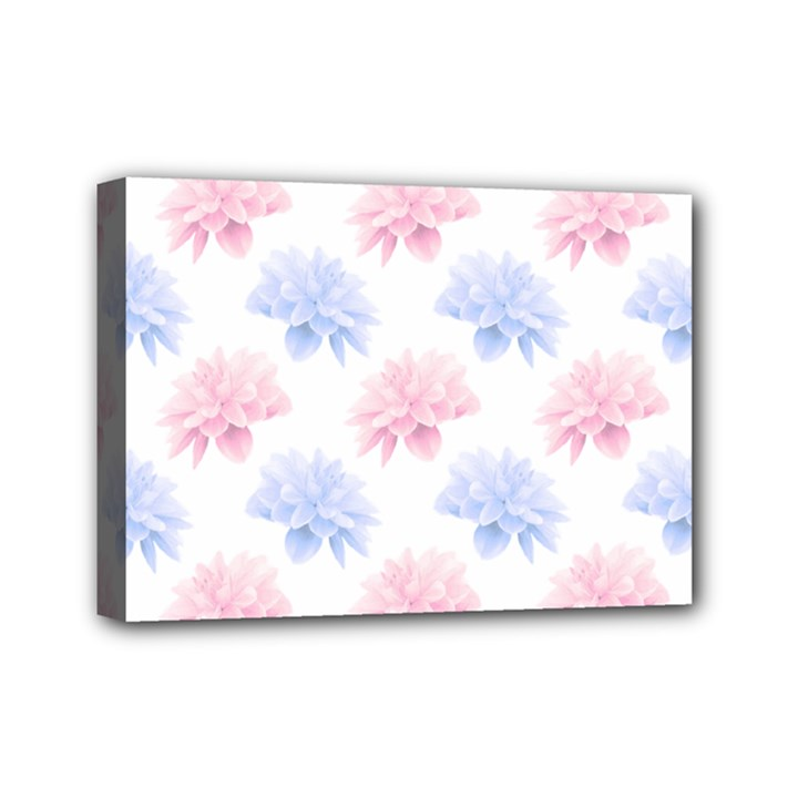 Blue And Pink Flowers Vector Clipart Mini Canvas 7  x 5