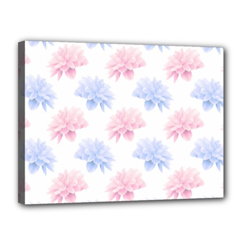 Blue And Pink Flowers Vector Clipart Canvas 16  X 12