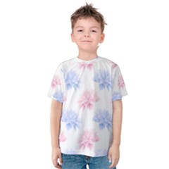 Blue And Pink Flowers Vector Clipart Kids  Cotton Tee