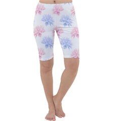 Blue And Pink Flowers Vector Clipart Cropped Leggings