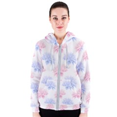 Blue And Pink Flowers Vector Clipart Women s Zipper Hoodie