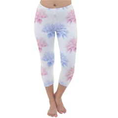 Blue And Pink Flowers Vector Clipart Capri Winter Leggings
