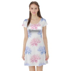 Blue And Pink Flowers Vector Clipart Short Sleeve Skater Dress