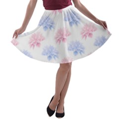 Blue And Pink Flowers Vector Clipart A Line Skater Skirt