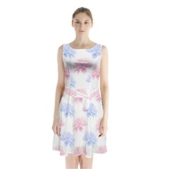 Blue And Pink Flowers Vector Clipart Sleeveless Waist Tie Chiffon Dress