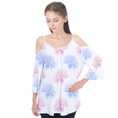 Blue And Pink Flowers Vector Clipart Flutter Tees