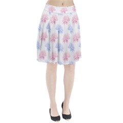 Blue And Pink Flowers Vector Clipart Pleated Skirt