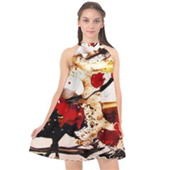 In Ireland 3 Halter Neckline Chiffon Dress