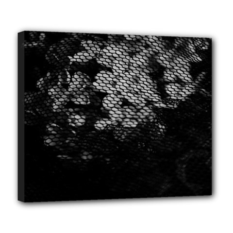 Black And White Dark Flowers Deluxe Canvas 24  X 20