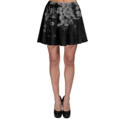 Black And White Dark Flowers Skater Skirt