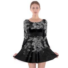 Black And White Dark Flowers Long Sleeve Skater Dress
