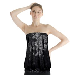 Black And White Dark Flowers Strapless Top