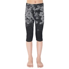Black And White Dark Flowers Kids  Capri Leggings