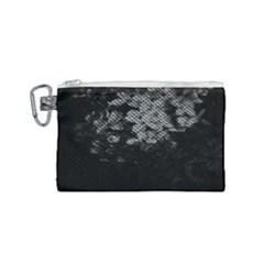 Black And White Dark Flowers Canvas Cosmetic Bag (small) by goodart