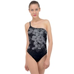 Black And White Dark Flowers Classic One Shoulder Swimsuit