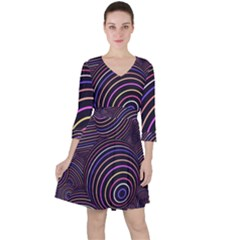 Abtract Colorful Spheres Ruffle Dress