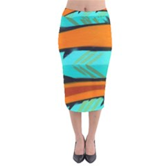 Abstract Art Artistic Velvet Midi Pencil Skirt by Modern2018
