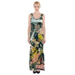 Abstract Art Berlin Maxi Thigh Split Dress