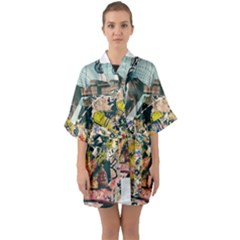Abstract Art Berlin Quarter Sleeve Kimono Robe