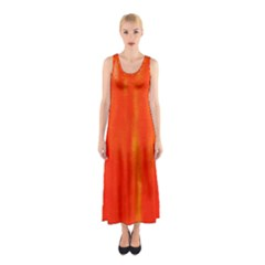 Abstract Orange Sleeveless Maxi Dress