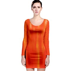 Abstract Orange Long Sleeve Bodycon Dress