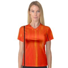 Abstract Orange V Neck Sport Mesh Tee