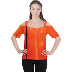 Abstract Orange Cutout Shoulder Tee