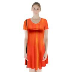 Abstract Orange Short Sleeve V Neck Flare Dress by Modern2018