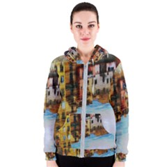 Architecture Art Blue Women s Zipper Hoodie by Modern2018